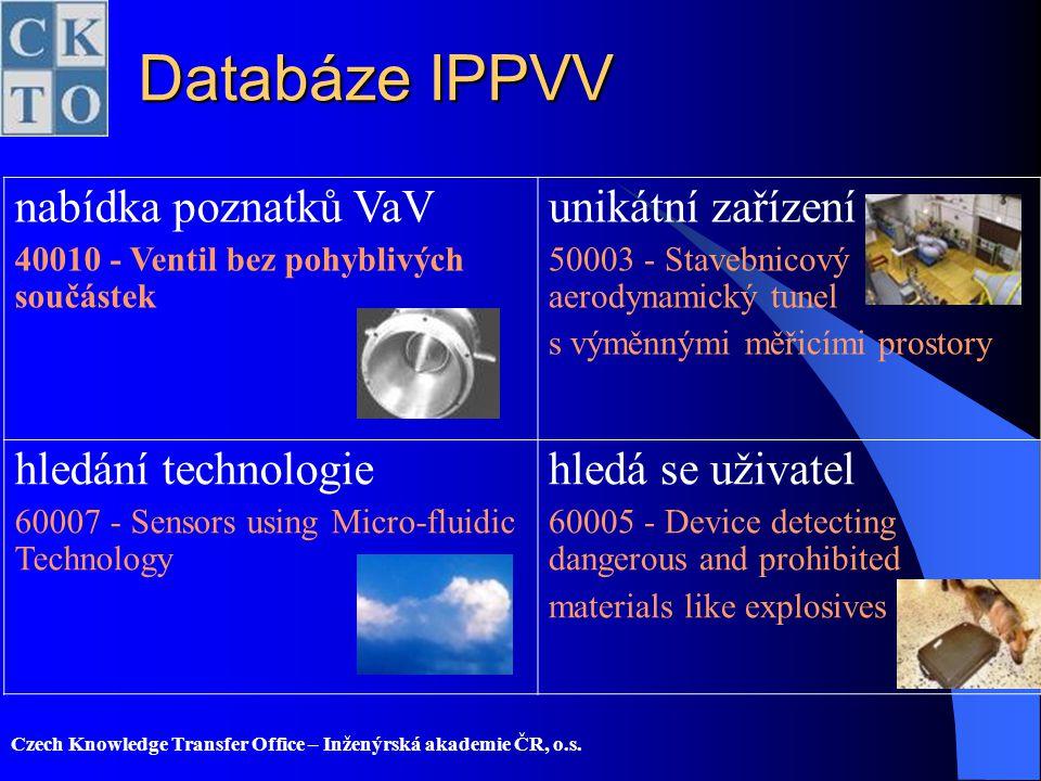 Databáze IPPVV nabídka poznatků VaV unikátní zařízení