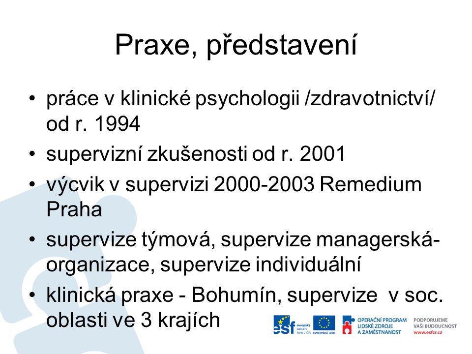 Praxe, představení práce v klinické psychologii /zdravotnictví/ od r. 1994. supervizní zkušenosti od r. 2001.