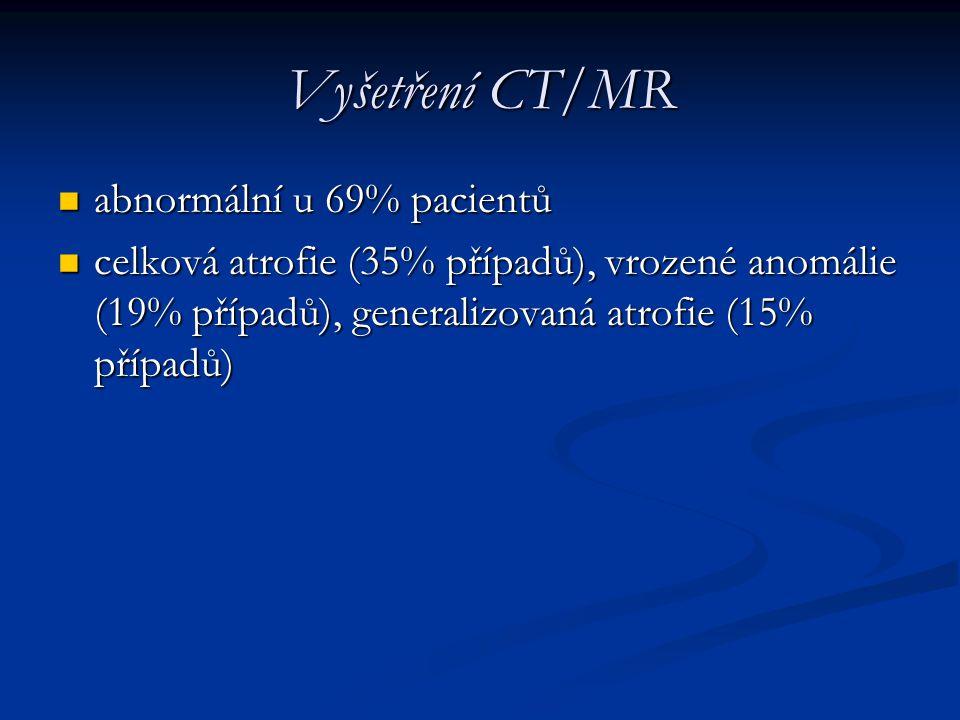 Vyšetření CT/MR abnormální u 69% pacientů