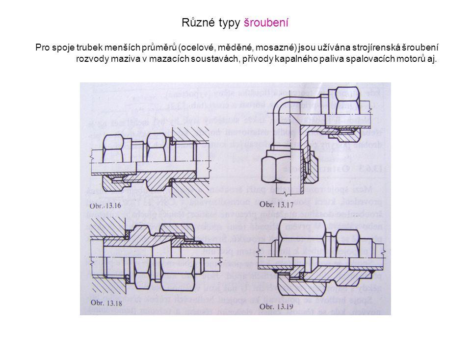 Různé typy šroubení Pro spoje trubek menších průměrů (ocelové, měděné, mosazné) jsou užívána strojírenská šroubení.
