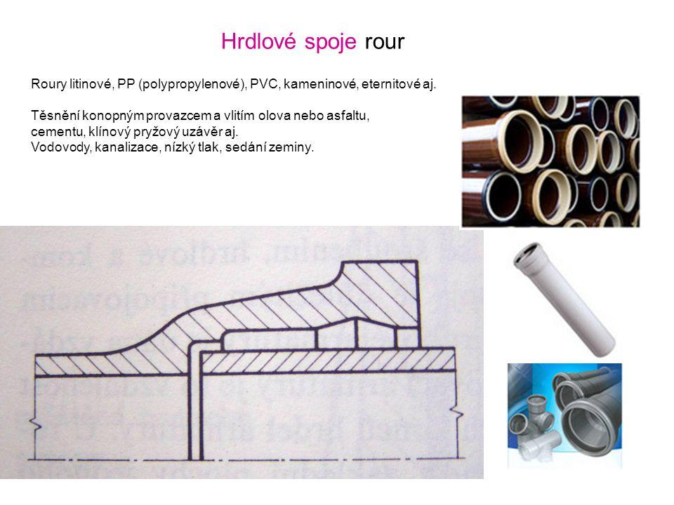 Hrdlové spoje rour Roury litinové, PP (polypropylenové), PVC, kameninové, eternitové aj. Těsnění konopným provazcem a vlitím olova nebo asfaltu,