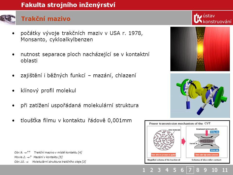 Trakční mazivo počátky vývoje trakčních maziv v USA r. 1978, Monsanto, cykloalkylbenzen. nutnost separace ploch nacházející se v kontaktní oblasti.