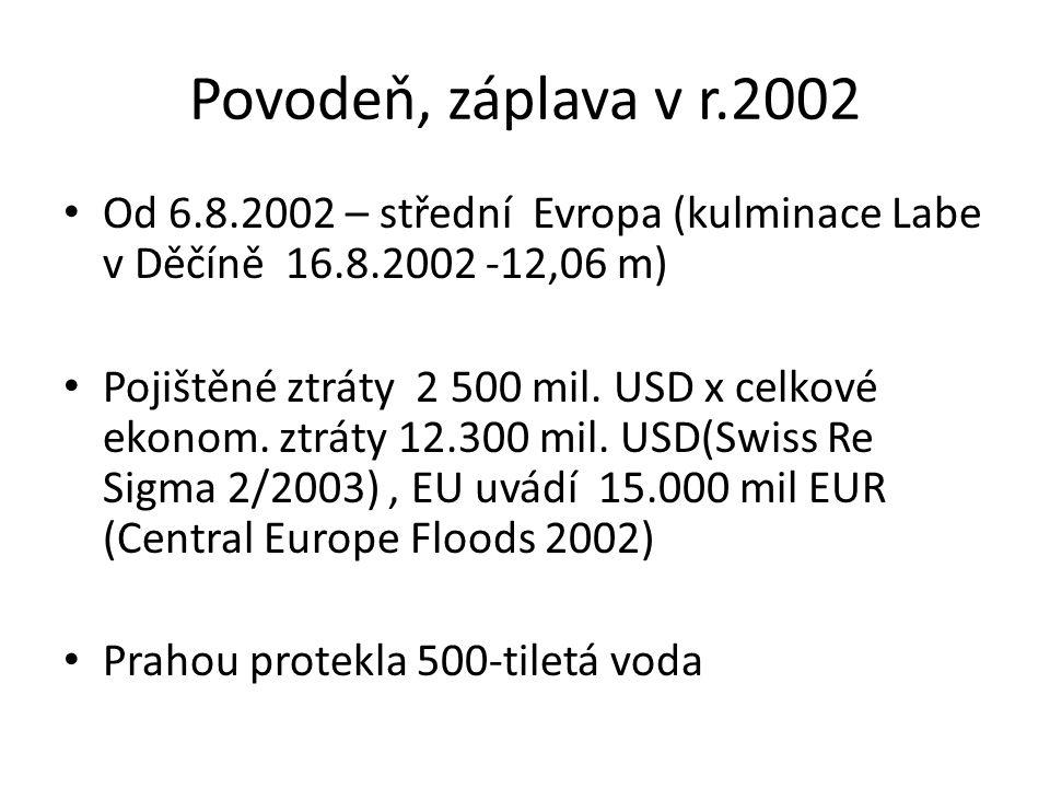 Povodeň, záplava v r.2002 Od 6.8.2002 – střední Evropa (kulminace Labe v Děčíně 16.8.2002 -12,06 m)