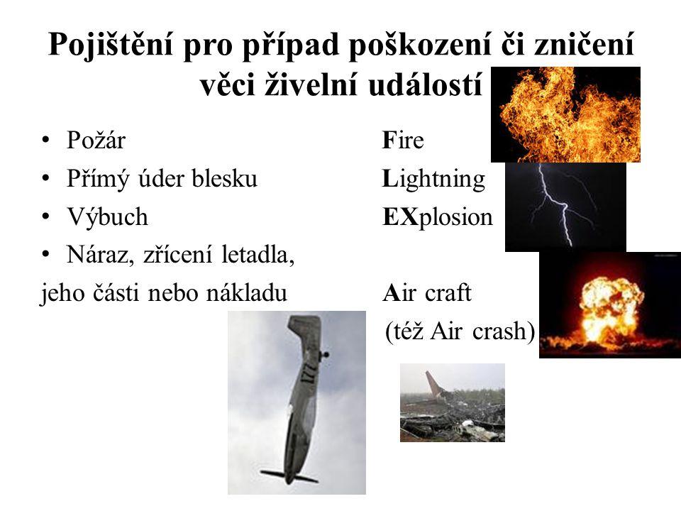 Pojištění pro případ poškození či zničení věci živelní událostí
