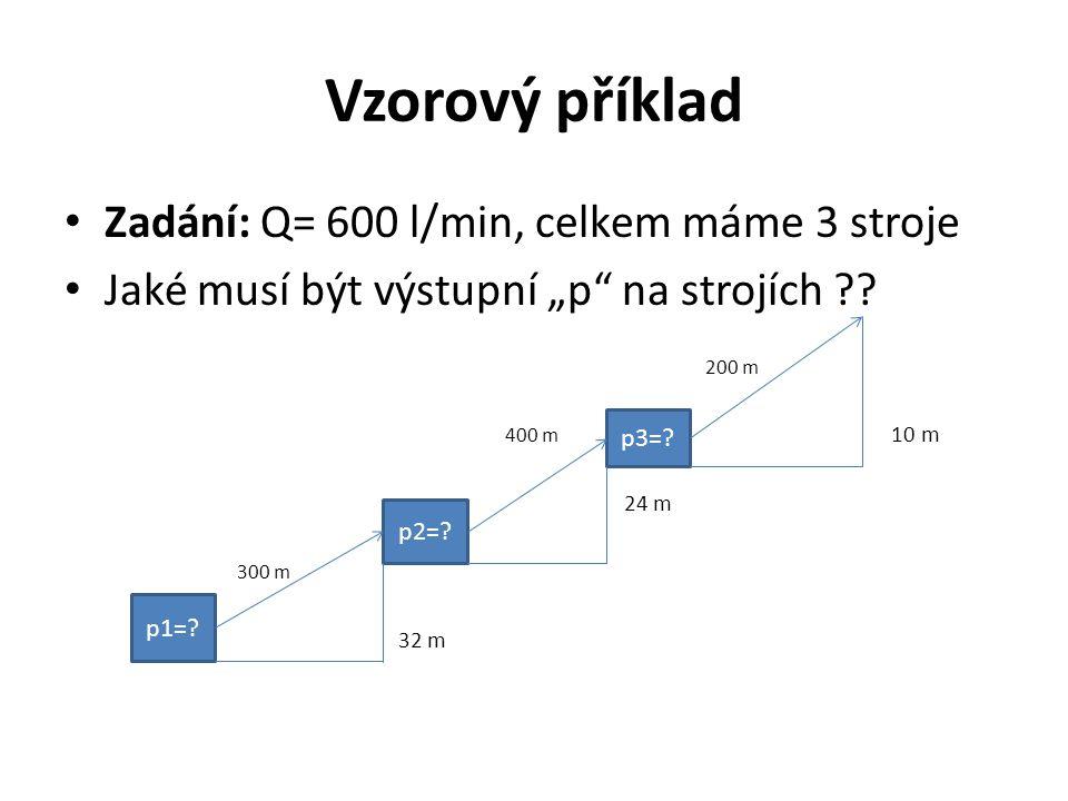 Vzorový příklad Zadání: Q= 600 l/min, celkem máme 3 stroje