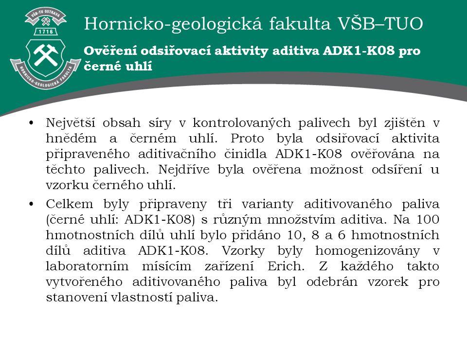 Ověření odsiřovací aktivity aditiva ADK1-K08 pro černé uhlí