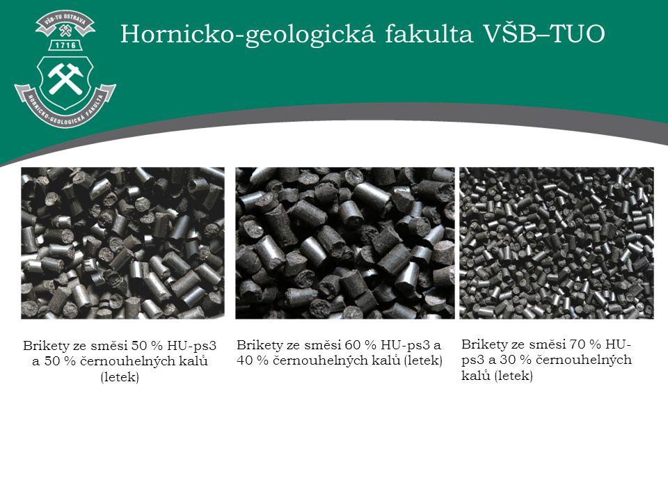Brikety ze směsi 50 % HU-ps3 a 50 % černouhelných kalů (letek)