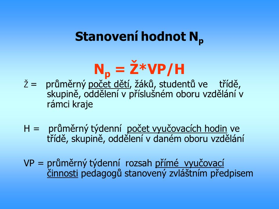 Np = Ž*VP/H Stanovení hodnot Np