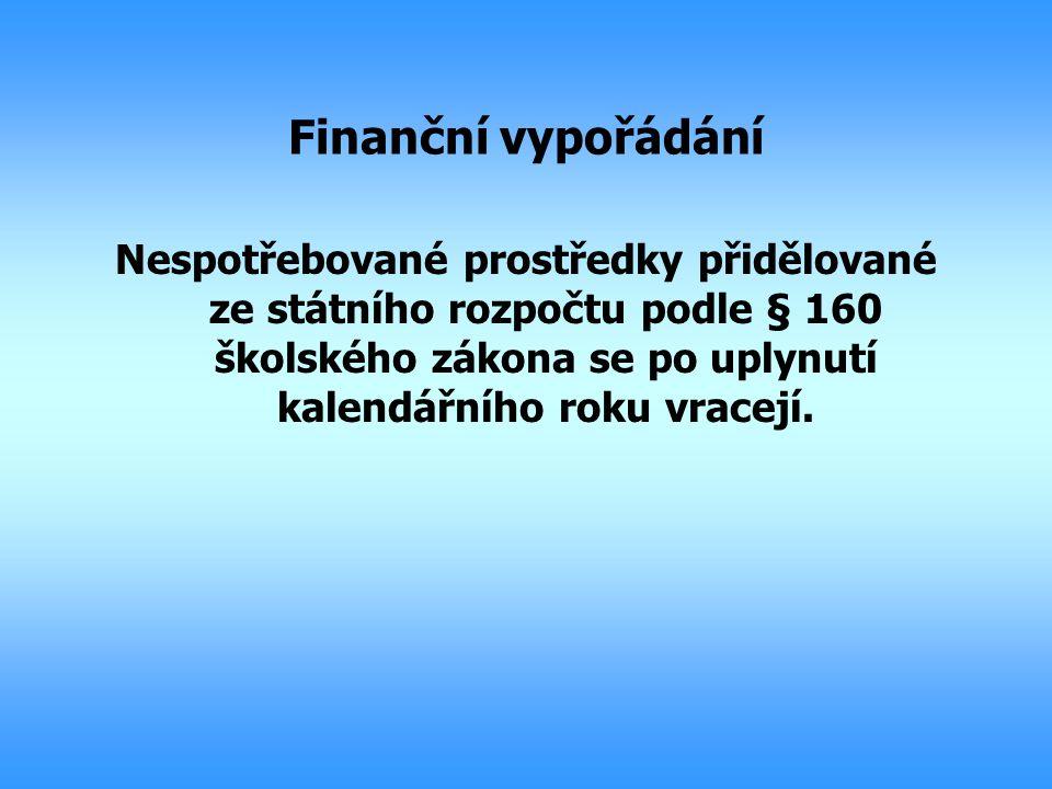 Finanční vypořádání Nespotřebované prostředky přidělované ze státního rozpočtu podle § 160 školského zákona se po uplynutí kalendářního roku vracejí.