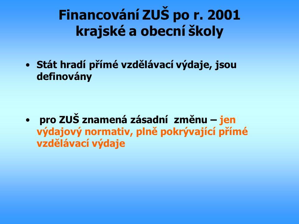 Financování ZUŠ po r. 2001 krajské a obecní školy