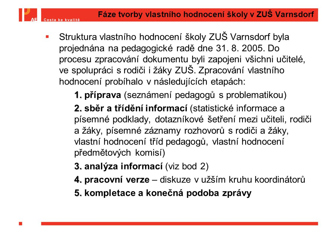 Fáze tvorby vlastního hodnocení školy v ZUŠ Varnsdorf