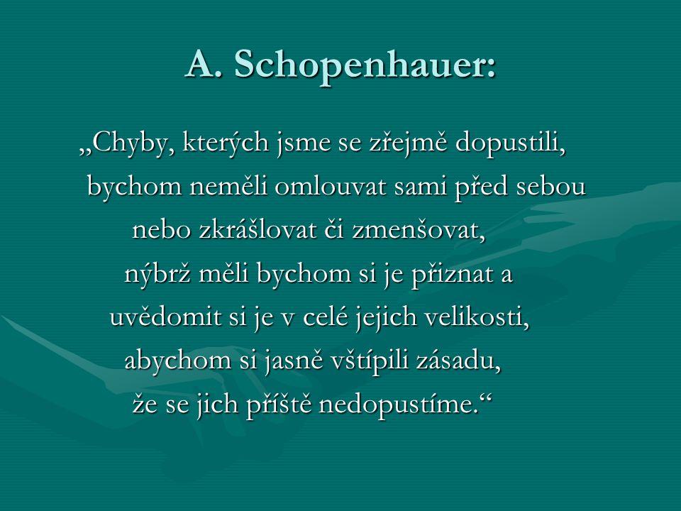 """A. Schopenhauer: """"Chyby, kterých jsme se zřejmě dopustili,"""