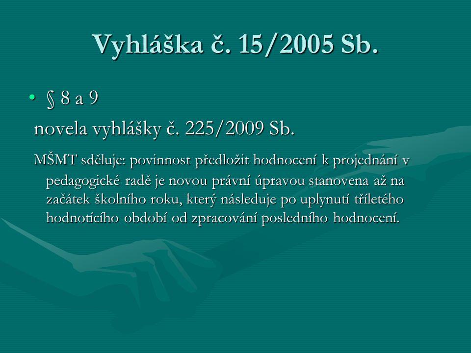 Vyhláška č. 15/2005 Sb. § 8 a 9 novela vyhlášky č. 225/2009 Sb.
