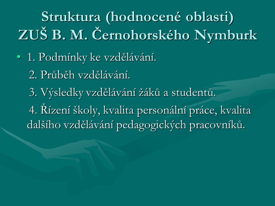 Struktura (hodnocené oblasti) ZUŠ B. M. Černohorského Nymburk