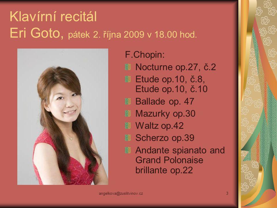 Klavírní recitál Eri Goto, pátek 2. října 2009 v 18.00 hod.