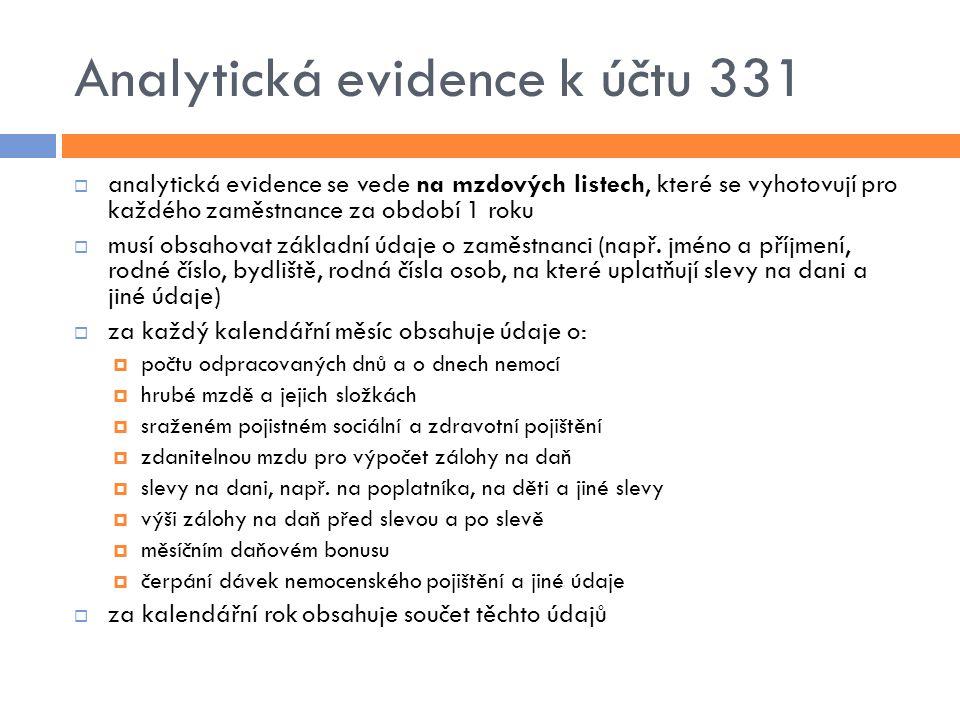 Analytická evidence k účtu 331