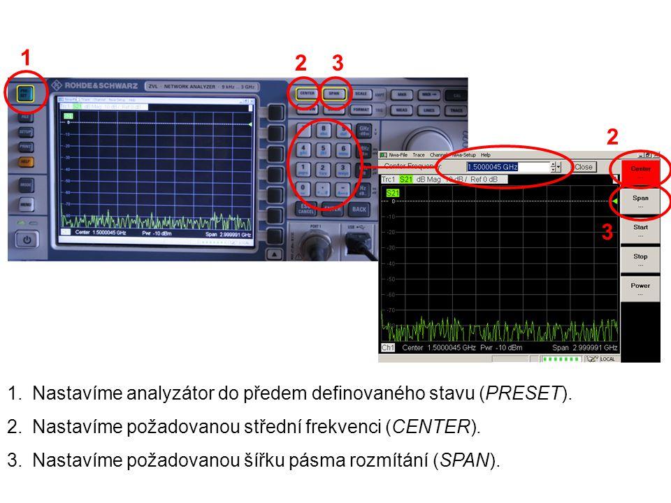 1 2 3 2 3 Nastavíme analyzátor do předem definovaného stavu (PRESET).