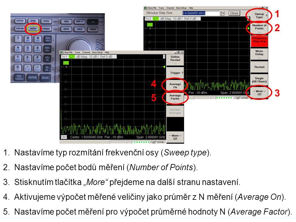 1 2 4 3 5 Nastavíme typ rozmítání frekvenční osy (Sweep type).