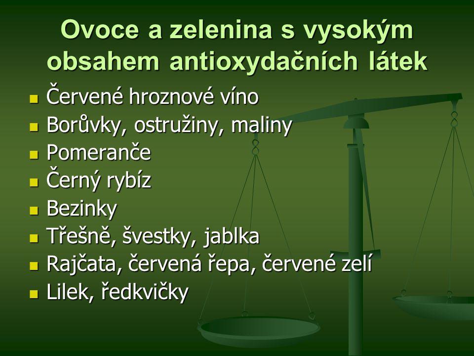 Ovoce a zelenina s vysokým obsahem antioxydačních látek