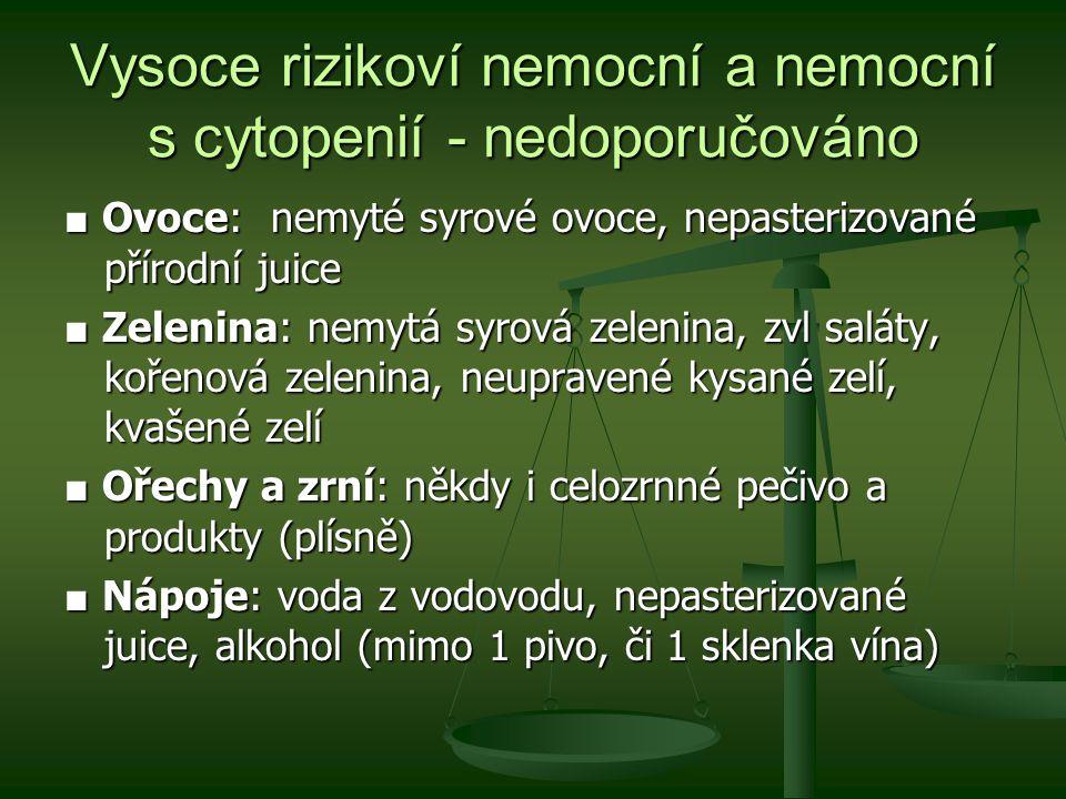 Vysoce rizikoví nemocní a nemocní s cytopenií - nedoporučováno