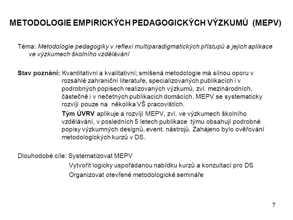 METODOLOGIE EMPIRICKÝCH PEDAGOGICKÝCH VÝZKUMŮ (MEPV)