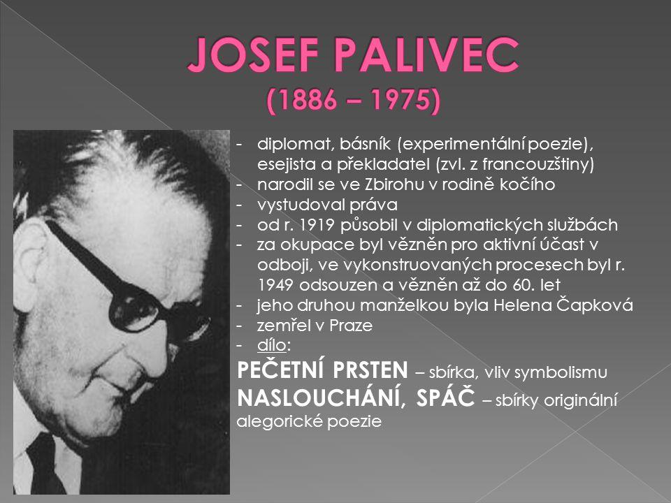 JOSEF PALIVEC (1886 – 1975) PEČETNÍ PRSTEN – sbírka, vliv symbolismu