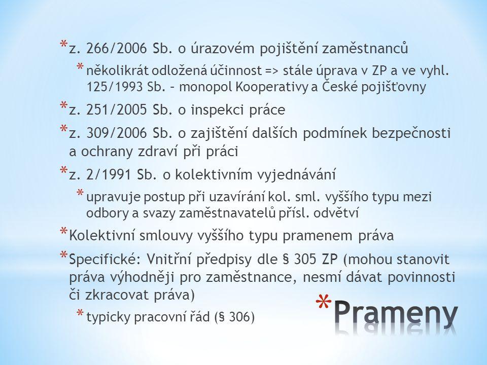 Prameny z. 266/2006 Sb. o úrazovém pojištění zaměstnanců