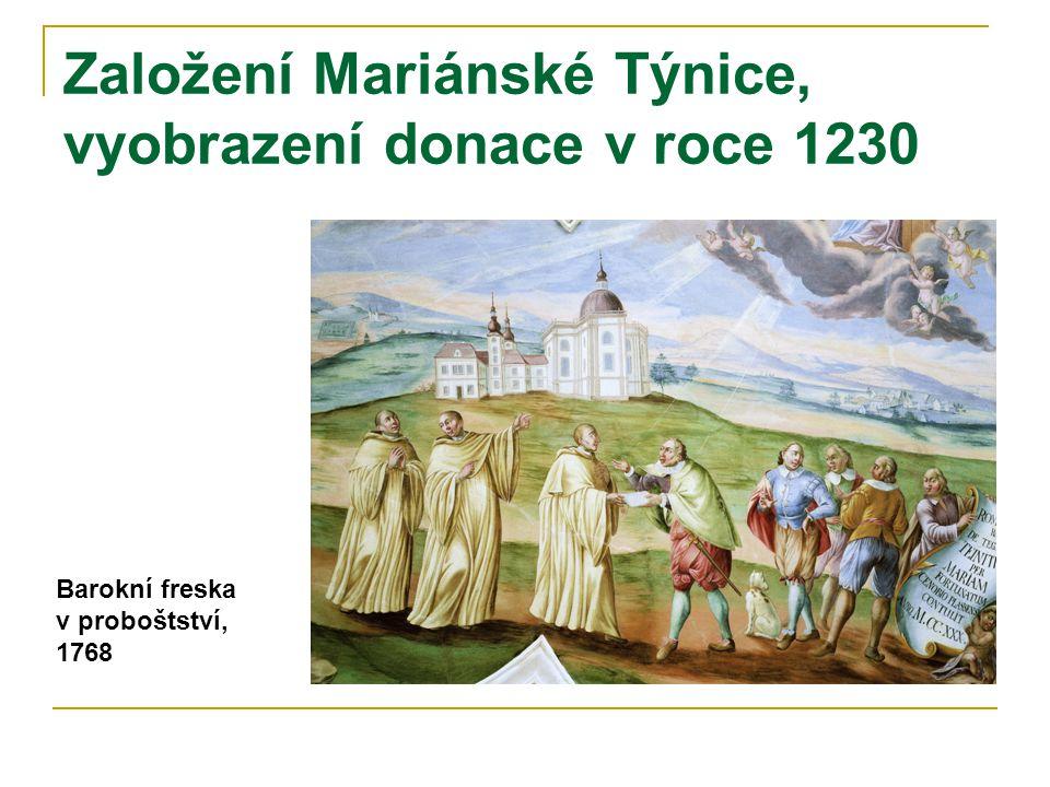 Založení Mariánské Týnice, vyobrazení donace v roce 1230
