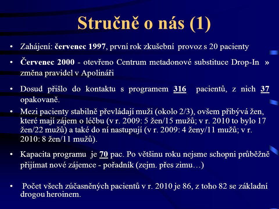 Stručně o nás (1) Zahájení: červenec 1997, první rok zkušební provoz s 20 pacienty.