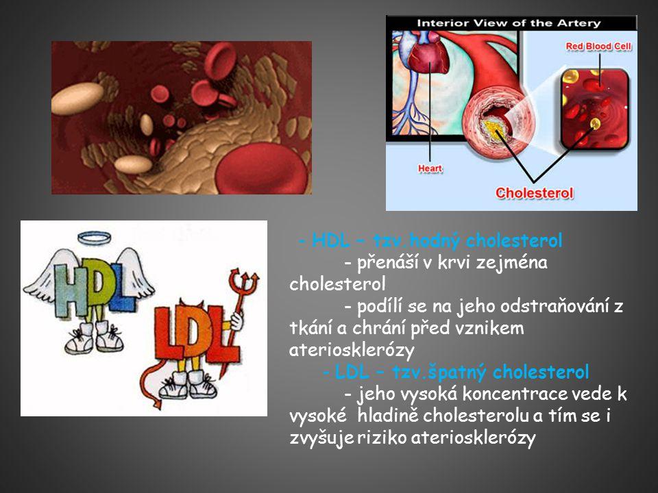 - HDL – tzv.hodný cholesterol - přenáší v krvi zejména cholesterol - podílí se na jeho odstraňování z tkání a chrání před vznikem ateriosklerózy - LDL – tzv.špatný cholesterol - jeho vysoká koncentrace vede k vysoké hladině cholesterolu a tím se i zvyšuje riziko ateriosklerózy