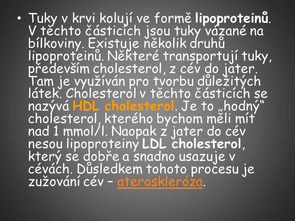 Tuky v krvi kolují ve formě lipoproteinů