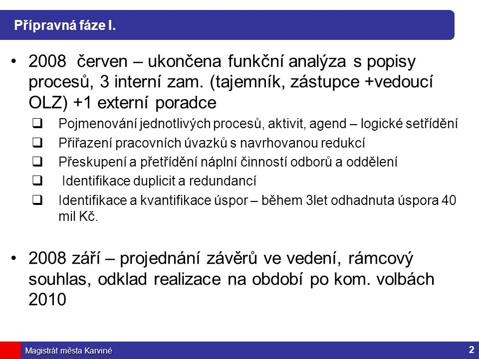 Přípravná fáze I. 2008 červen – ukončena funkční analýza s popisy procesů, 3 interní zam. (tajemník, zástupce +vedoucí OLZ) +1 externí poradce.