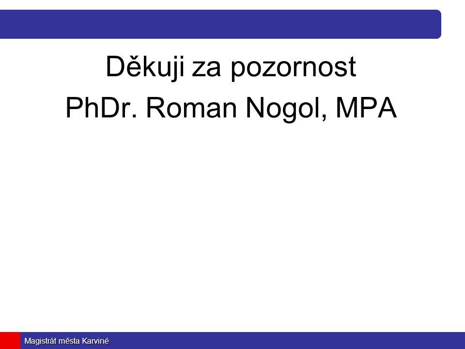 Děkuji za pozornost PhDr. Roman Nogol, MPA