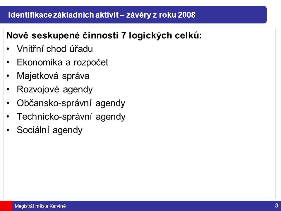 Identifikace základních aktivit – závěry z roku 2008