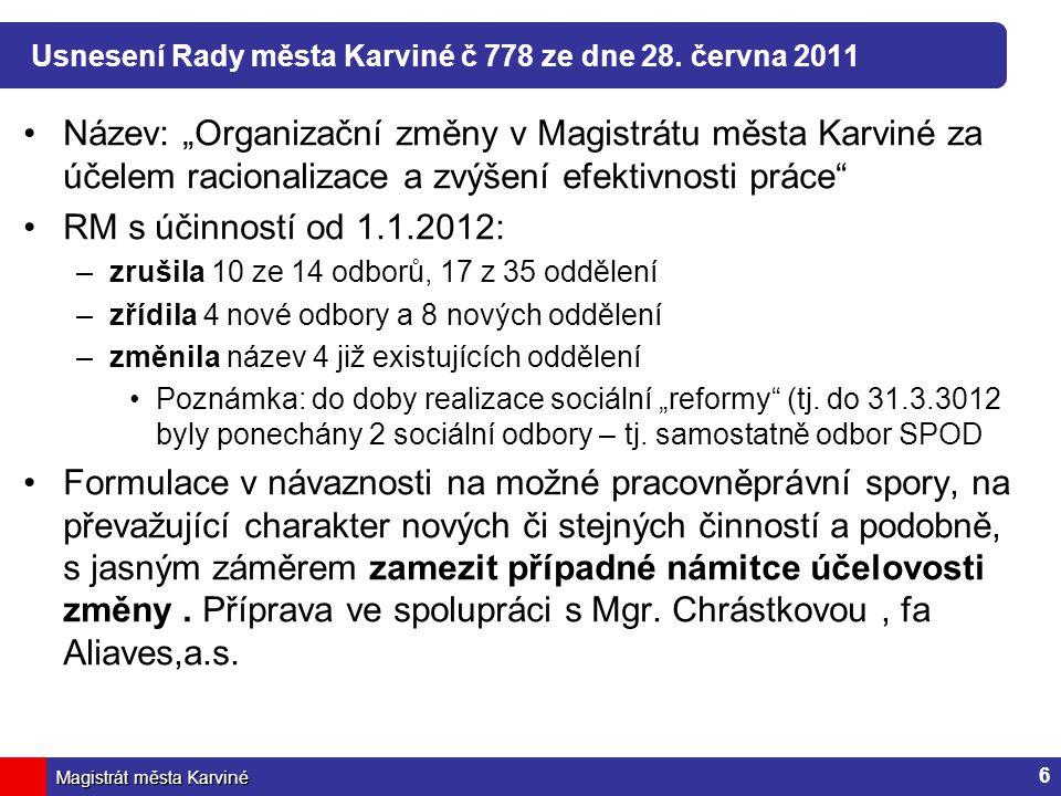 Usnesení Rady města Karviné č 778 ze dne 28. června 2011