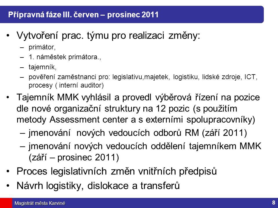 Přípravná fáze III. červen – prosinec 2011