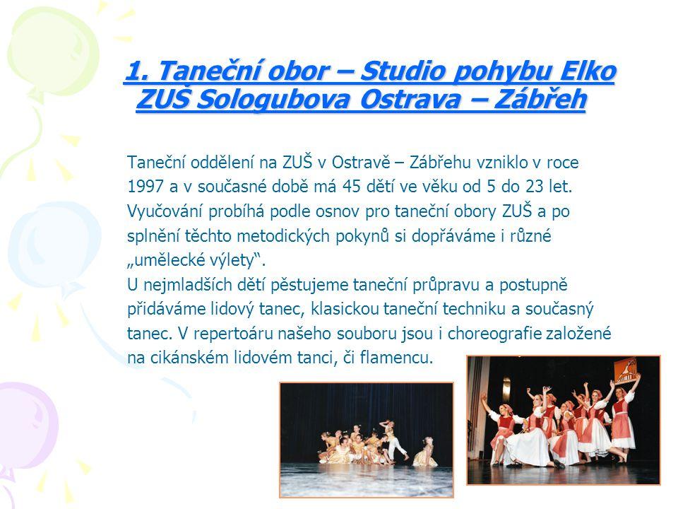 1. Taneční obor – Studio pohybu Elko ZUŠ Sologubova Ostrava – Zábřeh