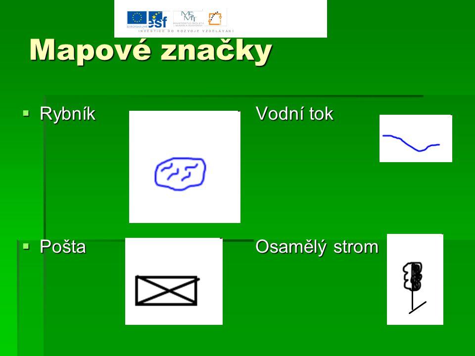 Mapové značky Rybník Vodní tok.