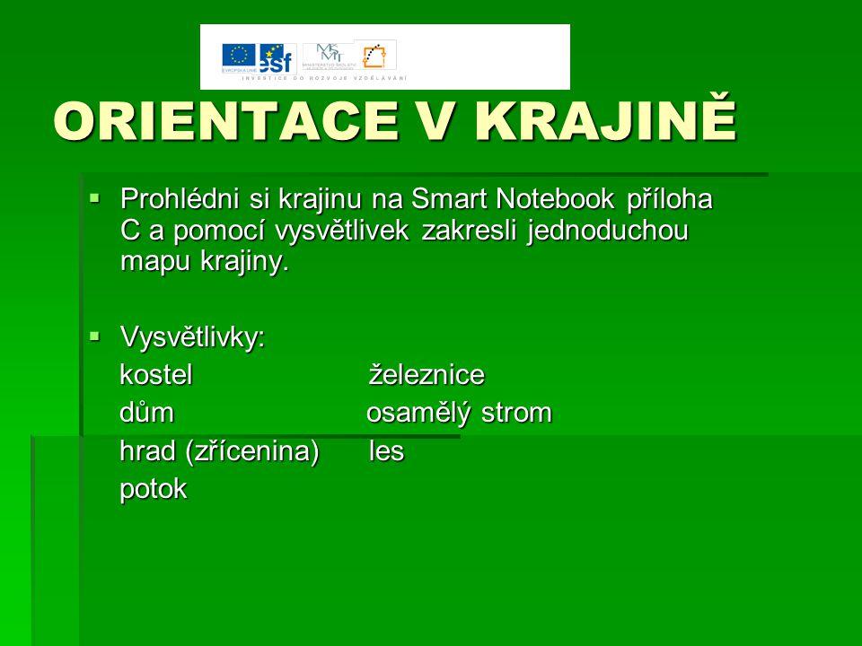 ORIENTACE V KRAJINĚ Prohlédni si krajinu na Smart Notebook příloha C a pomocí vysvětlivek zakresli jednoduchou mapu krajiny.