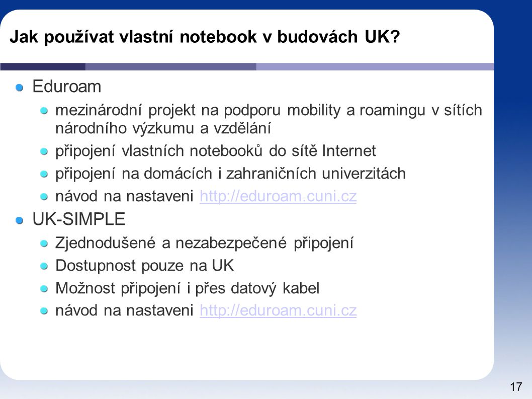Jak používat vlastní notebook v budovách UK