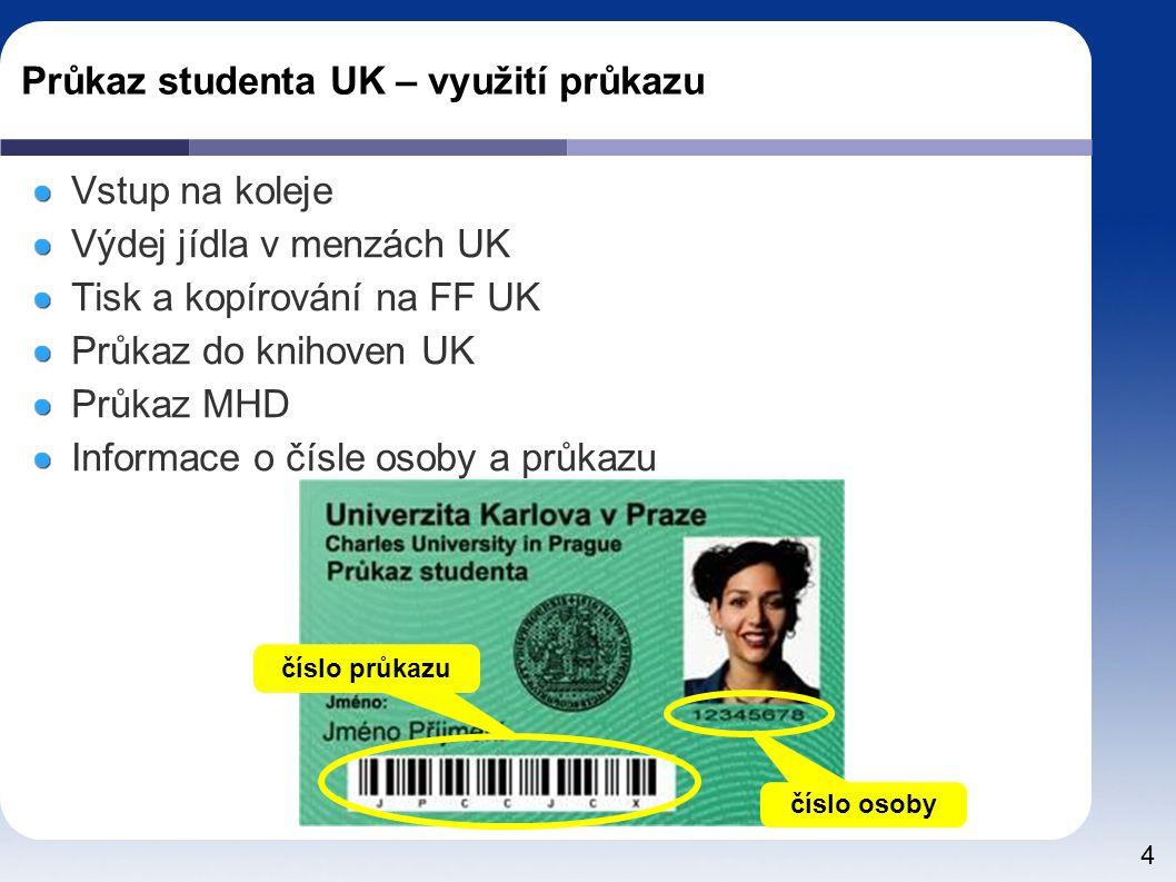 Průkaz studenta UK – využití průkazu