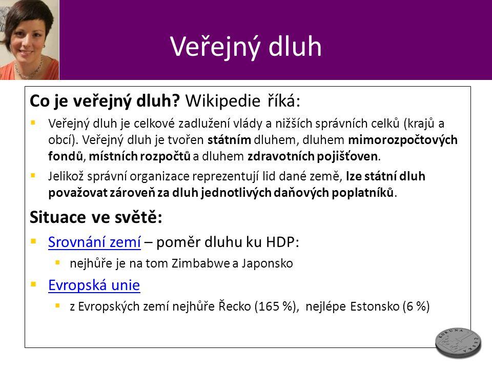 Veřejný dluh Co je veřejný dluh Wikipedie říká: Situace ve světě: