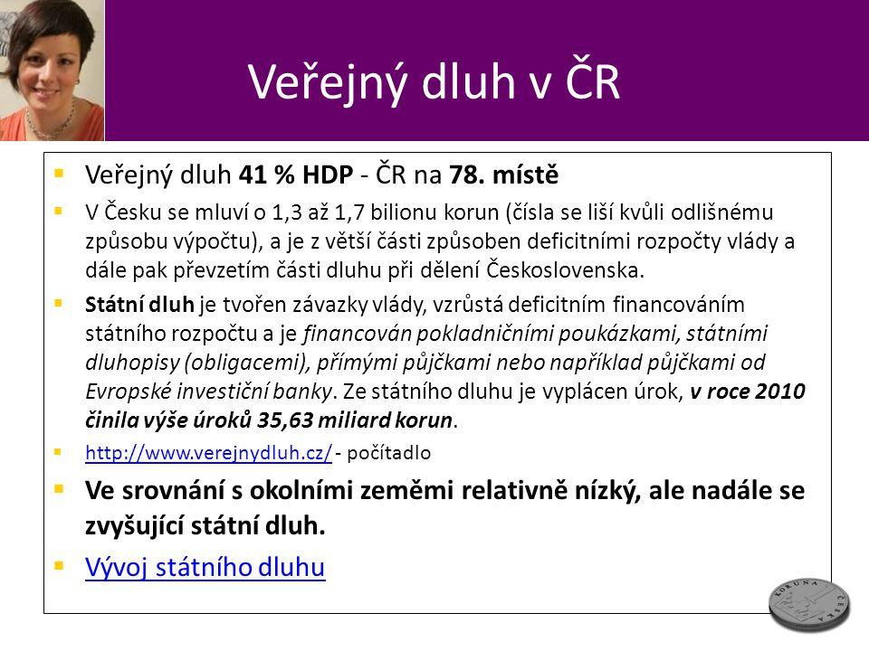 Veřejný dluh v ČR Veřejný dluh 41 % HDP - ČR na 78. místě