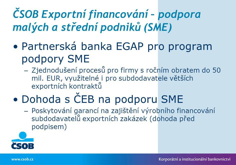 ČSOB Exportní financování – podpora malých a střední podniků (SME)