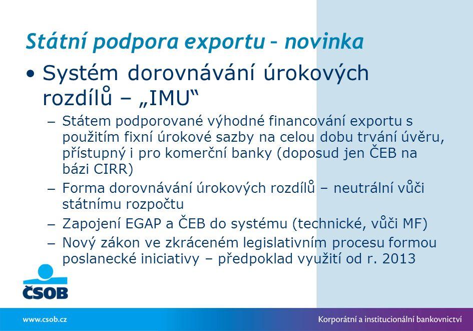 Státní podpora exportu – novinka