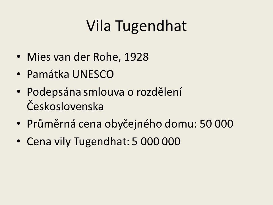 Vila Tugendhat Mies van der Rohe, 1928 Památka UNESCO