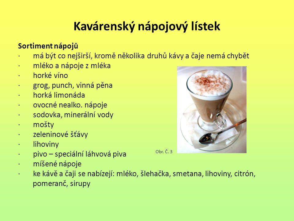 Kavárenský nápojový lístek