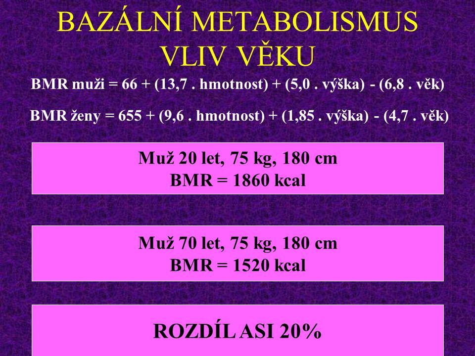 BAZÁLNÍ METABOLISMUS VLIV VĚKU