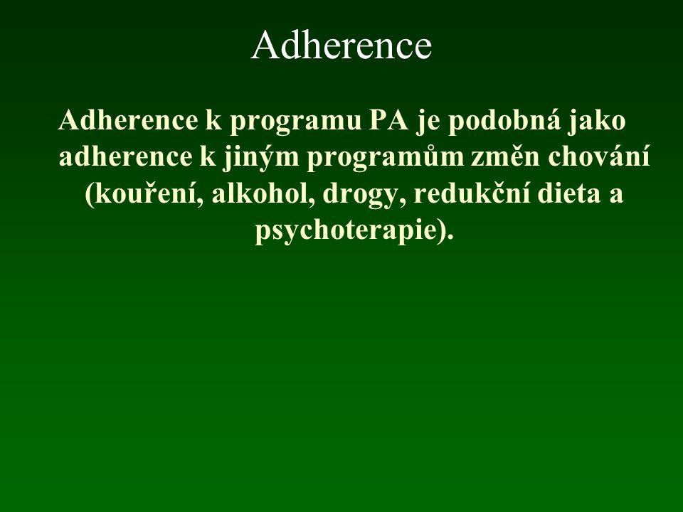 Adherence Adherence k programu PA je podobná jako adherence k jiným programům změn chování (kouření, alkohol, drogy, redukční dieta a psychoterapie).