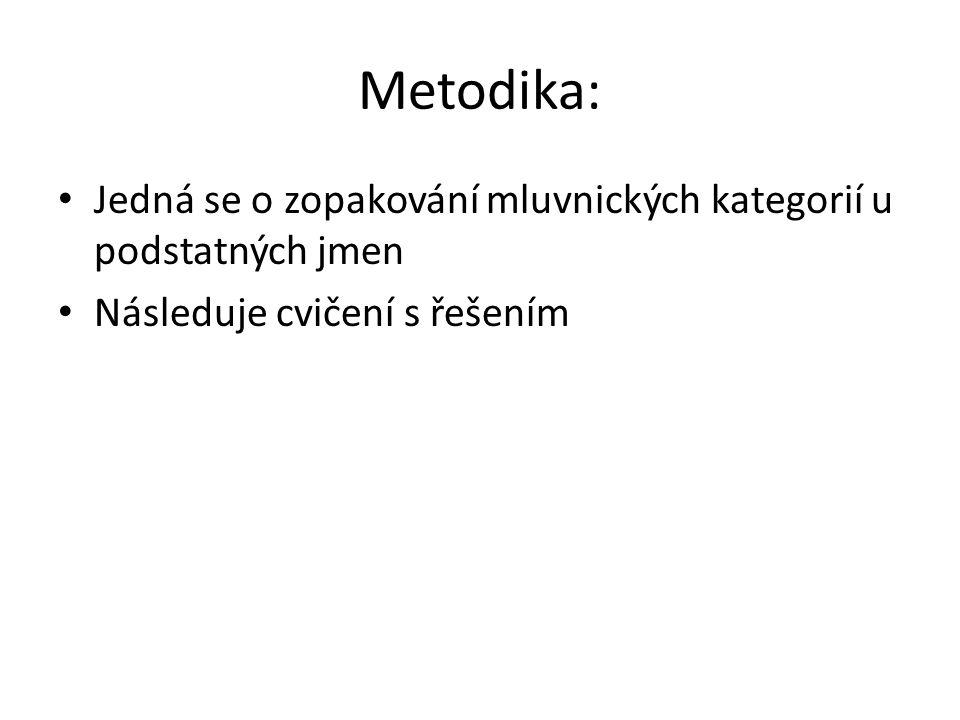 Metodika: Jedná se o zopakování mluvnických kategorií u podstatných jmen.